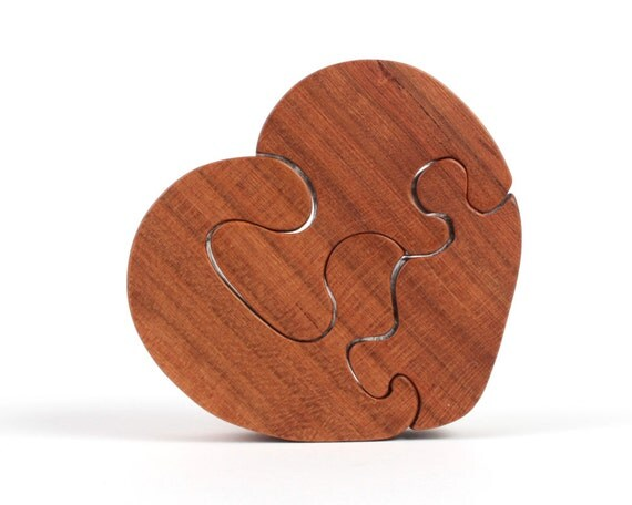 Small Wooden Heart Puzzle Toy Valentine's Day Mother's Day Love Puzzle ...