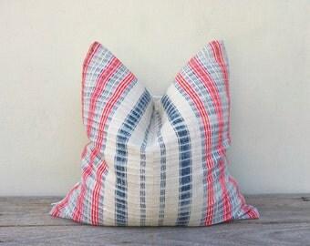 "Stripe Pillow Case Nature Hemp Hand Woven  A Piece Of Vintage Tribal Textile 20"" x 20"" Reverse made of pure hemp, Boro, Hmong pillowcase"