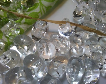 80 Pieces Clear Tear Shaped Acrylic Buttons,13 mm x 8 mm Doll Making, Sewing Buttons