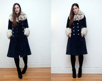 Vintage Real Silver Fox Fur Suede Swing Coat Princess Cape RARE