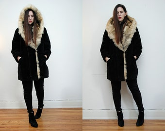 Vintage Real Fox Fur Hood Real Leather Suede Swing Cape Parka Coat