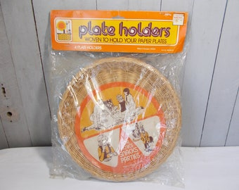 Vintage Wicker Paper Plate Holders (Sealed)