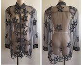 Vintage Oversized Sheer Mesh Star Blouse Jacket - Size 14 - Rare - Witch - Plus Size - Long Sleeve - India - NWT - Deadstock Vintage