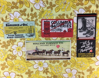 4 vintage ad cards