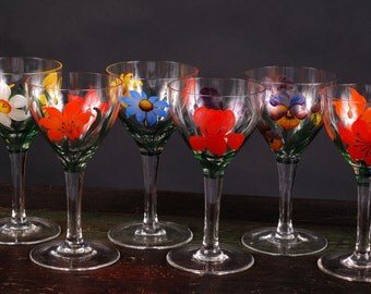 Wine Glasses with Hand Painted Flowers