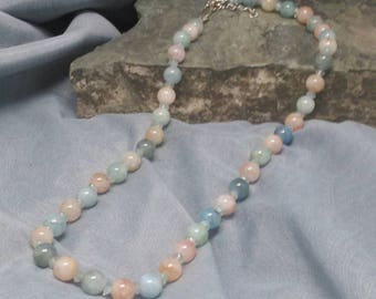 Pink and Blue Aquamarine Necklace
