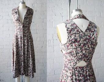 "1990s Floral Print Sun Dress   Size XS   34"" B   26"" W"