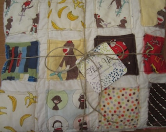 Sock Monkey.......A Fray Edge Quilt....Ready to Ship