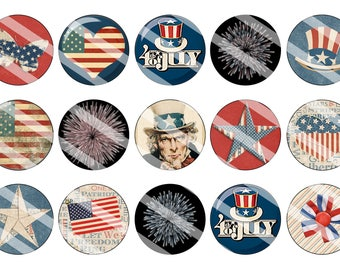 Fourth of July patriotic 1 inch bottle cap circles digital download
