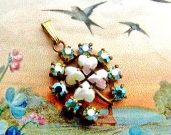 Vintage Aurora Borealis rhinestone 4 leaf clover horseshoe pendant art deco