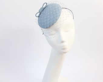Wool Felt Mini Hat-Button-Felt Fascinator-Light blue-bridesmaid fascinator