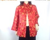 40%off SPRING SALE Satin Brocade Smoking Jacket Red Jacket Gold Embroidered Jacket Boho Avant Garde Jacket Vintage Evening Wear  M L 42 bust