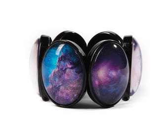 Purple Galaxy Cameo Stretchy Bracelet