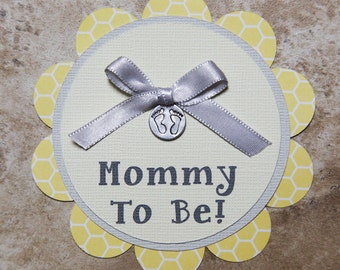 Baby footprint Theme Honeycomb Button Pin- Grey and Yellow- for Baby shower or Birthday Party
