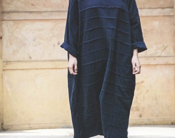 Free Style Linen Dress with Accordion Folds/ Pleated Long Dress /Asian Style/Cocoon Shape/ 28 Colors/ RAMIES