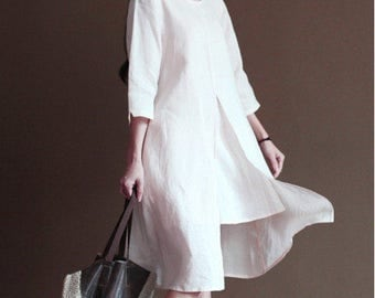 Asian Style Two Layered Linen Long Dress/ 31 Colors/ RAMIES