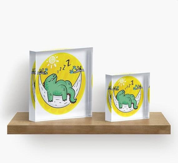 "Dinosnore - Acrylic Block - Children's Decor - Kids room - Nursery Decor - 6"" x 6"" -  iOTA iLLUSTRATION"