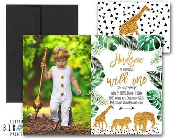 WILD ONE Invitation Jungle animals Lion Giraffe Elephant Wild one invitation Jungle FIrst birthday Gold Black and White Jungle invitation