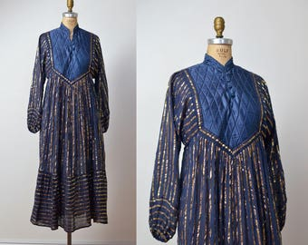 1970s Indian Gauze Dress / 70s Metallic Dress