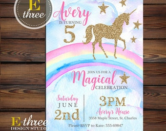 Unicorn Birthday Party Invitations - Rainbow, Pink and Gold Glitter Girl's Party Invite - Mystical Unicorn Birthday Party