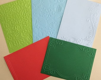 EMBOSSED CARDSTOCK 41/4 x 51/2 inches 5 pack Christmas Pack 2
