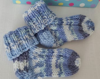 Knitted Socks - Baby Socks - 3-6 Months - Handmade  - Hand Knitted Socks - Gifts for Baby - Striped Socks, Patterned Socks - Boys Blue Socks