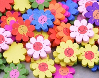 50 Assorted color sunflower painted wood beads, colorful wood flower, Flower carved wood 20mm