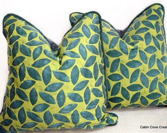 "Authenic Mariano Fortuny fabric throw pillows 2 Girandole blue green & pistachio 21"" CUSTOM Decorative cushions by Cabin Cove Creations"