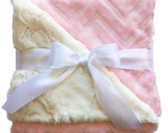Baby Pink Chevron Embossed Minky Blanket - Girl Baby Blanket - Baby Shower Gift - Chevron Blanket - Pink Minky Blanket - Pink Baby Blanket