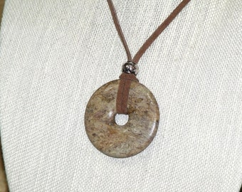 Long Bohemian Stone and Leather Necklace boho hippie chic brown ivory donut pendant indie art jewelry