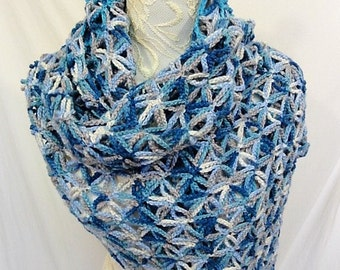 cashmere merino silk blend wrap shades of blue and ivory
