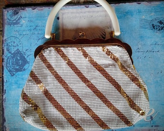 Vintage Whiting and Davis Mesh Purse / White and Gold Striped Mesh Purse / Vintage Wedding Purse