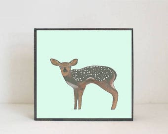 deer forest nursery decor,  woodland nursery, deer wall art- nursery art- rustic kids room decor- green nursery- art block -redtilestudio