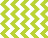 Sale -ONE Yard - Medium Chevron DREAMY in Lime and White by Riley Blake Minky