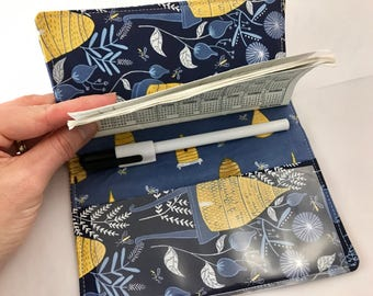 Duplicate Checkbook Cover with Pen Holder Duplicate Checkbook Register - Fabric Checkbook Cover Honey Bee in Navy