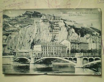 Grenoble - 1923 - Vintage French Postcard - Pont de la Porte de France et le Fort Rabot