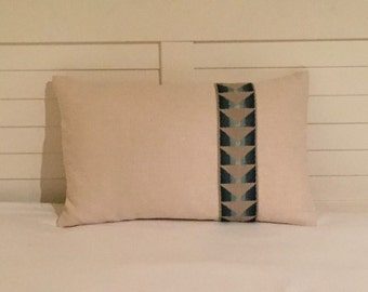 Kravet Ivory Linen  Designer Pillow Cover  with Trim  12x20