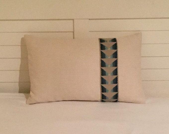 Kravet Ivory Linen  Designer Pillow Cover  with Trim  12x20