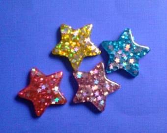 Kawaii sparkling star cabochon decoden diy charm   4 pcs---USA seller