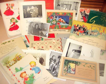 28+  pc Christmas Shabby Ephemera Art Matches, Cards, Photos Lot Old Paper for Altered Art Work Junk Journals Tags Cards or Frames CHEAP