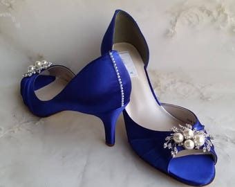 blue wedding shoes blue bridal shoes with pearls and crystals or pick from 100 colors bridesmaid