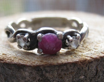 Small Women's Ladies Ring with Ruby Stone and Cubic Zirconium Sterling Silver Size 5 Victorian Style