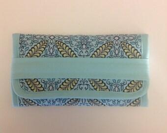Soft Aqua Print Jewelry Trifold Travel Case Handmade Novelty