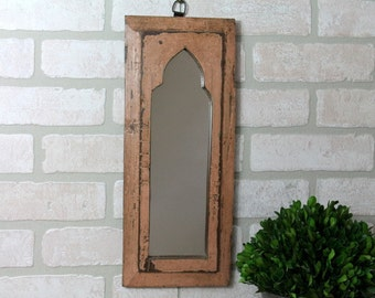 Moroccan Mirror Vintage Wood Framed Mirror Reclaimed Wood Wall Art Distressed Rich Salmon Color Wall Mirror Moroccan Decor Turkish