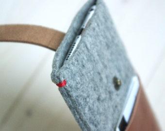 IPHONE 7/6/5/SE WALLET case - felt leather - grey - pocket cover
