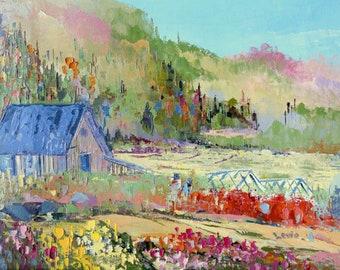 Original oil painting on canvas, summer painting, country landscape, original artwork, summer landscape, wall decor, home decor