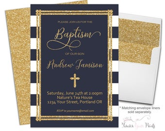 Navy and Gold Baptism Invitation, Baptism Invitation Boy, Boys Christening Invitation, Boys Baptism Invite, Gold Glitter, Blessing