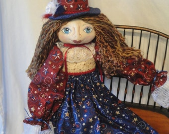 Lady Liberty Art Doll, Patrotic Americana cloth doll, hand made OOAK July 4th celebration oll, red white blue collectible Patriotic doll