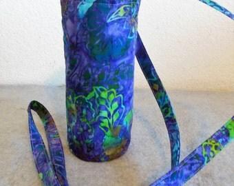 Insulated Water Bottle Carrier - Purple Batik
