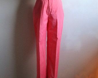Vintage 80s Trouser Pink-Peach Gabardine Rebel Jeans Casual Spring Summer 1980s Pants Medium